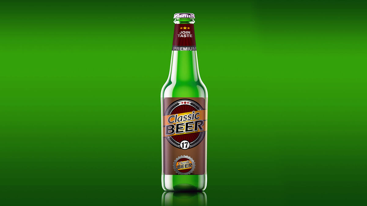 Glass Beer Bottle Mockup