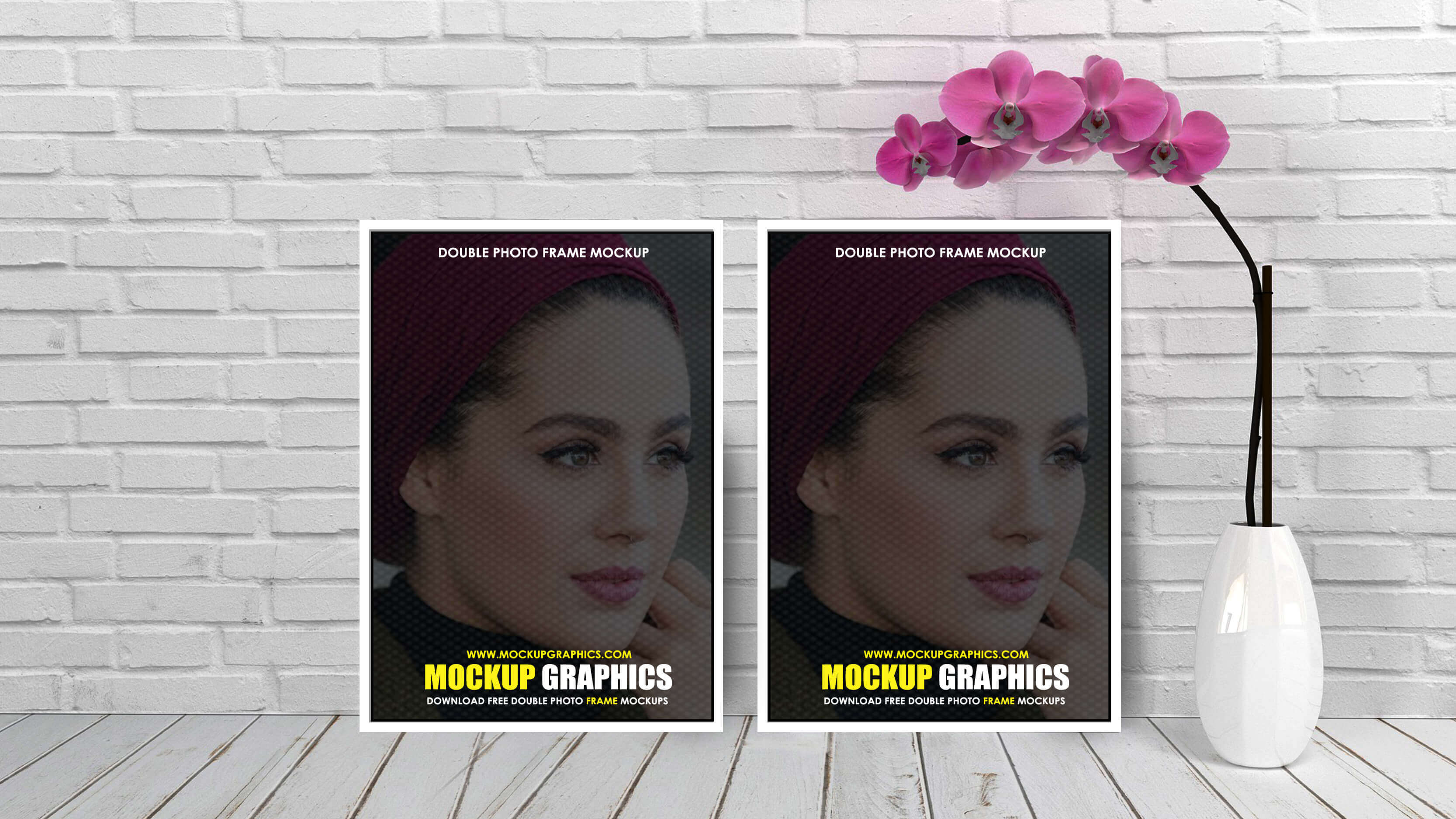 Double Photo Frame Mockup